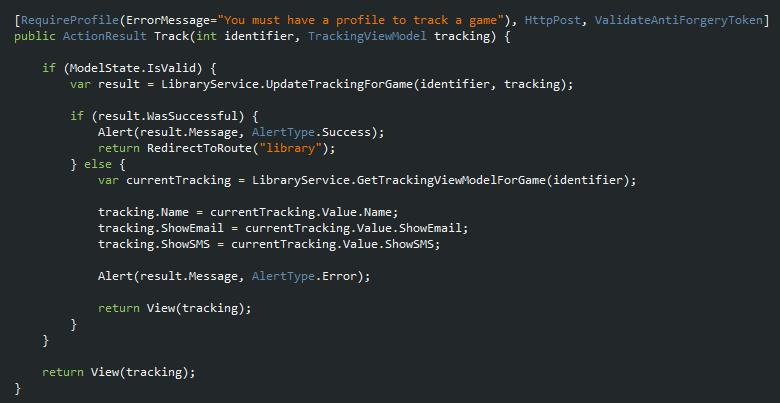 Saving tracking settings